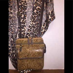 Relic Faux Leather Textured Paisley Crossbody Bag